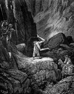 Don Quixote goes crazyballs in the mountains as Sancho looks on. by Gustave Dore.