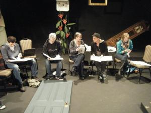 Mario Calcagno, Joel Harmon, Liz Pierce, Tyler Ryan, and Britt Harris at first read