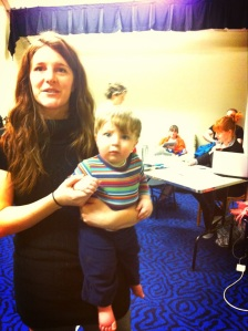 Little Julian Pierce (son of sound designer Liz Pierce) helping out Brooke Calcagno with her scene!