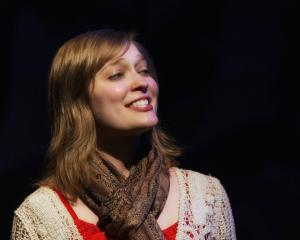 This is my opening night face on stage, apparently. (Photo by Gary Norman)