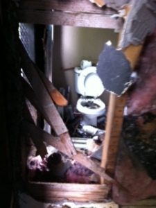 what was left of the upstairs bathroom.